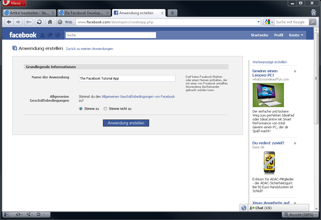 Facebook-Anwendungs-App