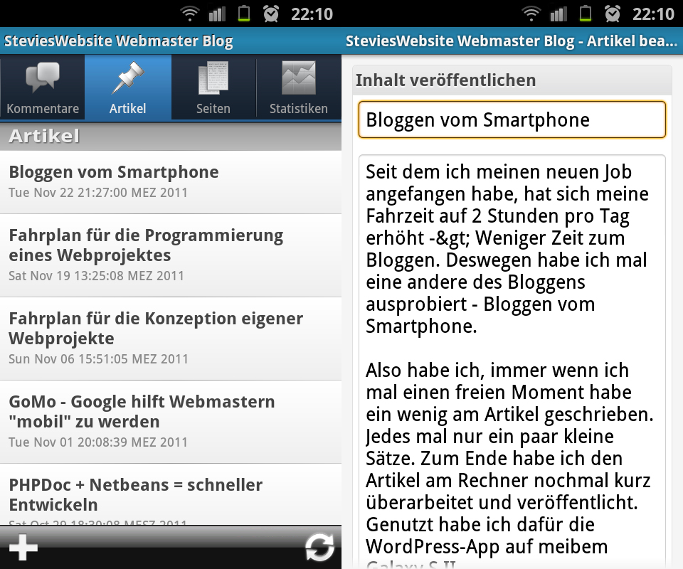 WordPress App auf Android